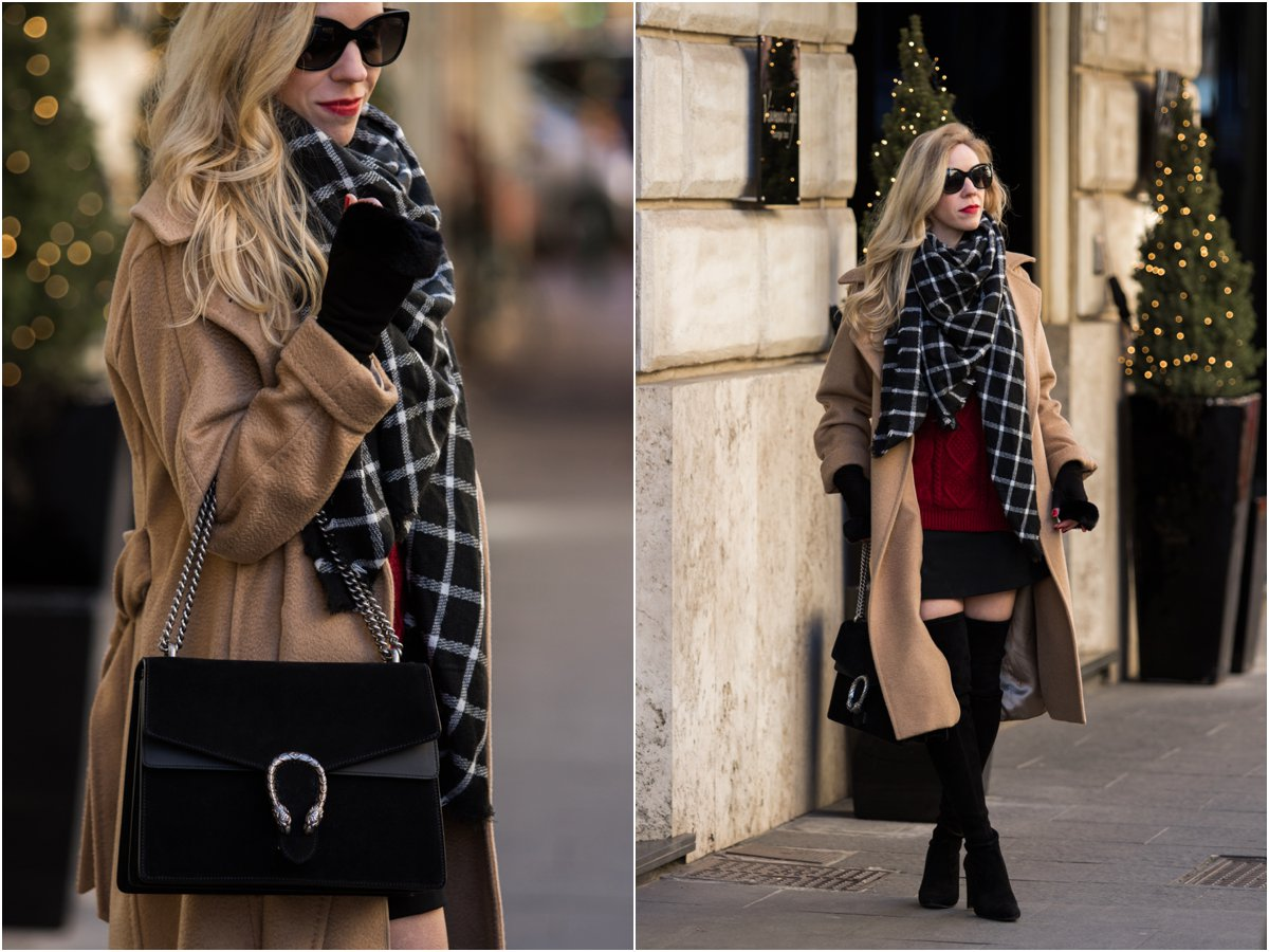 max-mara-manuela-camel-coat-black-and-white-windowpane-plaid-scarf-holiday-outfit-with-black-red-and-camel-gucci-black-suede-dionysus-bag