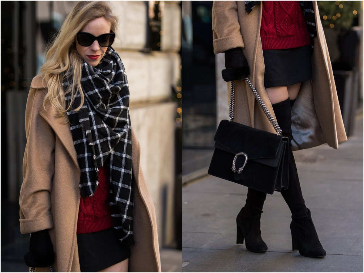 max-mara-manuela-camel-coat-black-white-and-camel-outfit-black-and-white-windowpane-scarf-gucci-black-suede-dionysus-bag