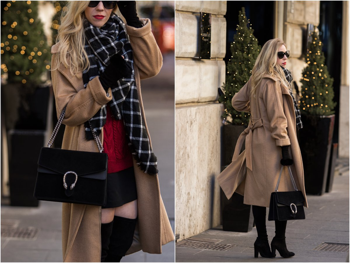 max-mara-camel-coat-with-black-and-white-plaid-scarf-and-red-sweater-holiday-outfit-with-plaid-scarf-gucci-black-suede-dionysus-bag