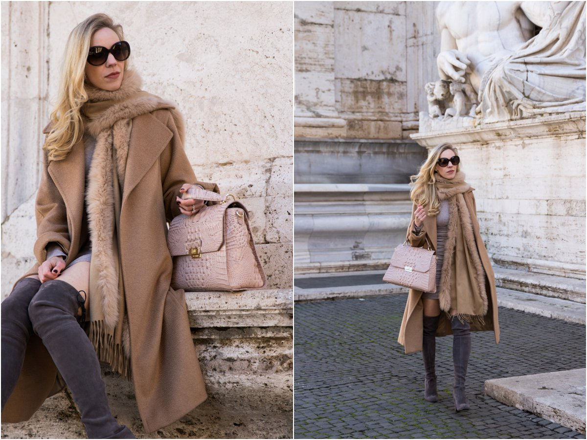 max-mara-camel-coat-with-fur-scarf-pink-camel-and-gray-holiday-outfit-how-to-wear-pink-in-the-winter-brahmin-brinley-satchel