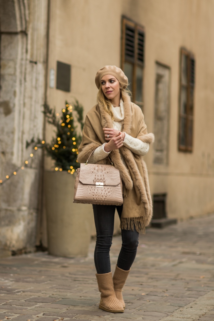 max-mara-camel-fur-cape-holiday-outfit-with-fur-scarf-and-ugg-boots-how-to-wear-ugg-boots-and-look-chic-brahmin-brinley-satchel-silk-melbourne