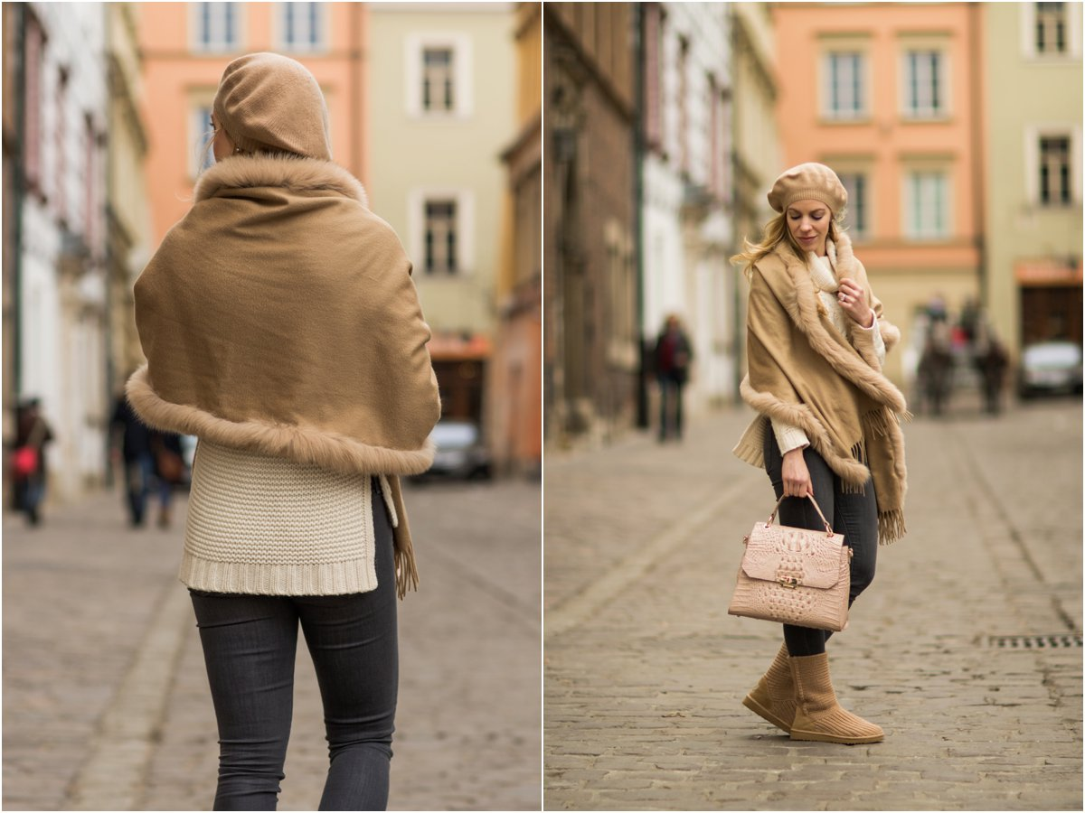 max-mara-fur-trim-fringe-camel-wrap-how-to-wear-ugg-boots -and-look-chic-winter-neutral-outfit-with-pink-handbag