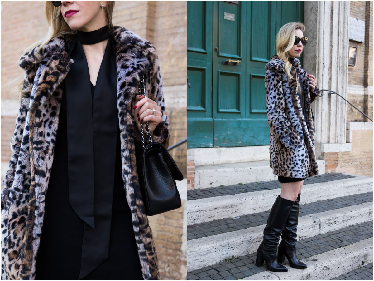 new-years-eve-outfit-with-faux-fur-leopard-coat-with-black-skinny-scarf-and-black-dress-stuart-weitzman-scrunchy-knee-high-leather-boots