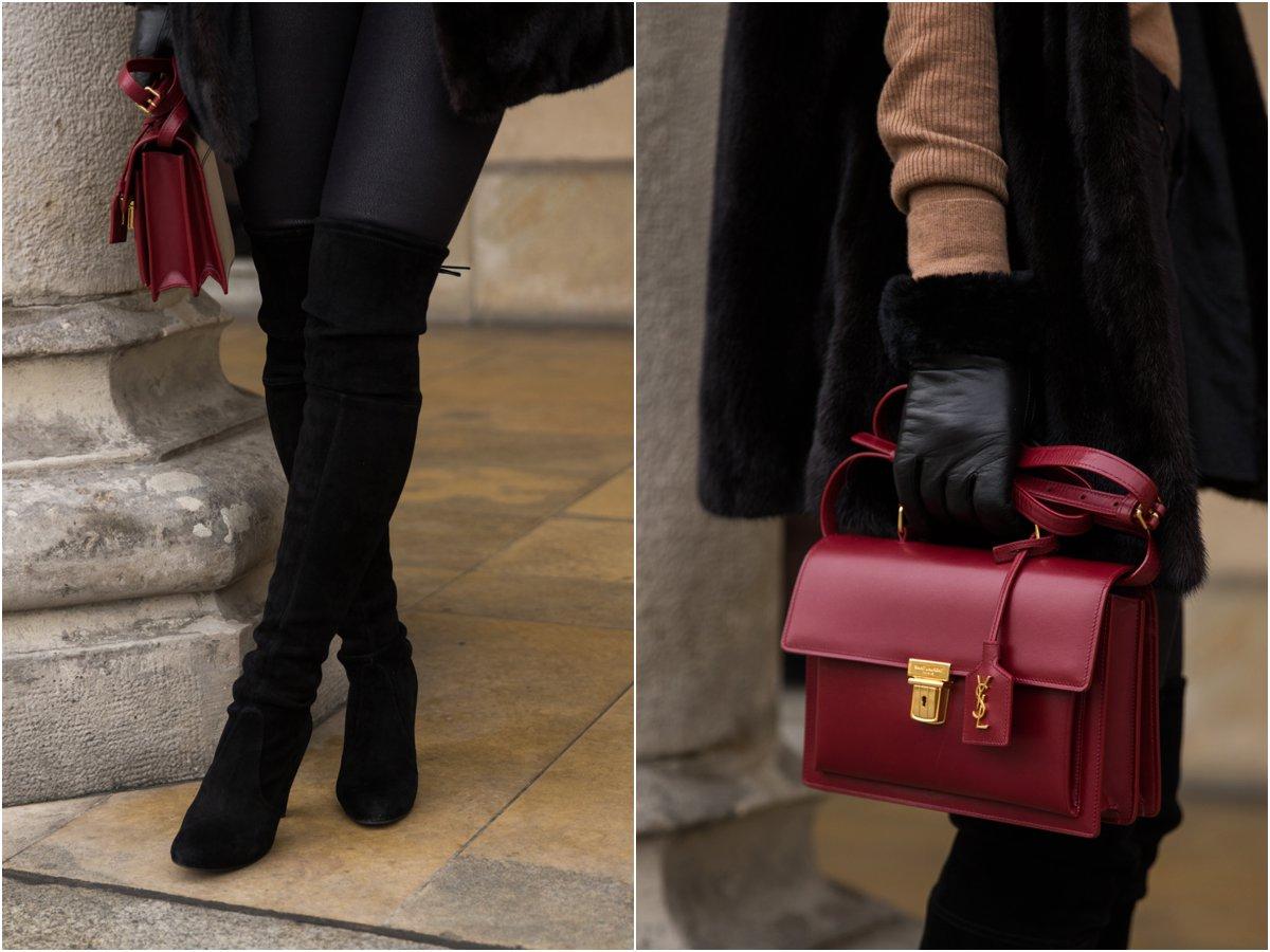 saint-laurent-high-school-satchel-stuart-weitzman-highland-black-over-the-knee-boots-ugg-fur-cuff-leather-gloves