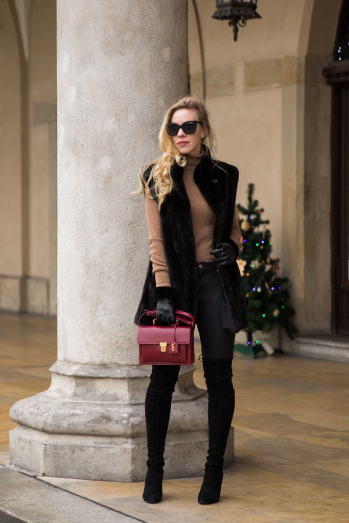 black-fur-vest-with-camel-turtleneck-leather-leggings-and-over-the-knee-boots-red-ysl-bag-how-to-wear-fur-vest-with-leather-leggings