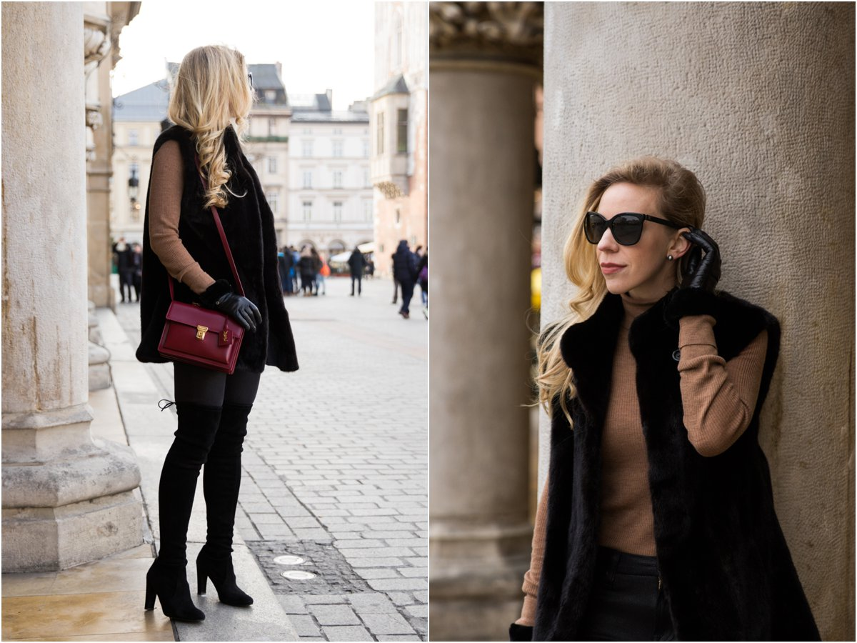 ce862227533 black-fur-vest-with-leather-leggings-and-suede-over-the-knee-boots-black -fur-vest-holiday-outfit-red-ysl-high-school-bag