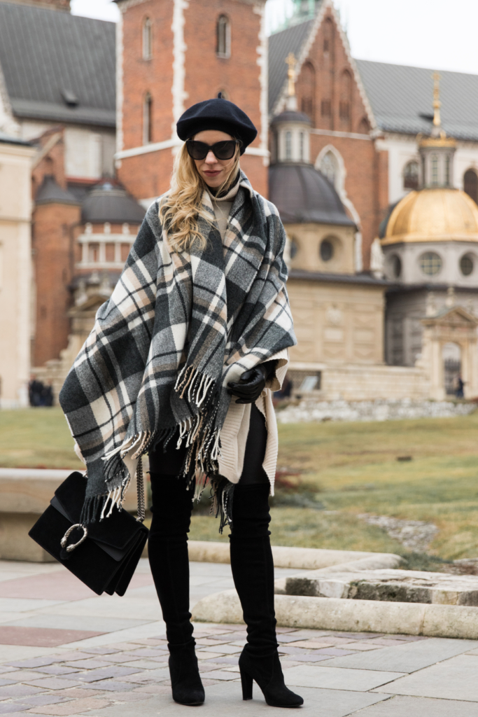 black-plaid-blanket-scarf-wrap-leather-leggings-stuart-weitzman-over-the-knee-boots-gucci-dionysus-bag-black-suede-how-to-wear-a-blanket-scarf-as-a-wrap