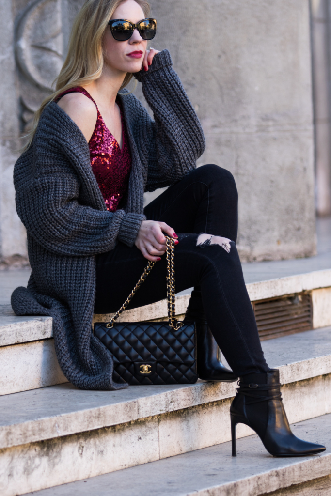 cardigan-sweater-with-sequin-camisole-new-years-eve-outfit-fashion-blogger-wearing-oversized-sweater-and-sequin-top-with-chanel-bag