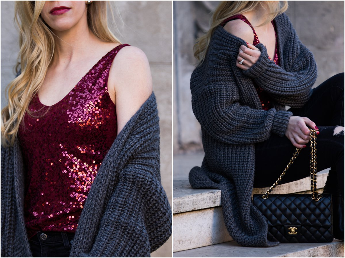 fashion-blogger-wearing-cardigan-sweater-with-sequin-top-for-new-years-eve-chanel-medium-classic-flap-bag-black-and-gold