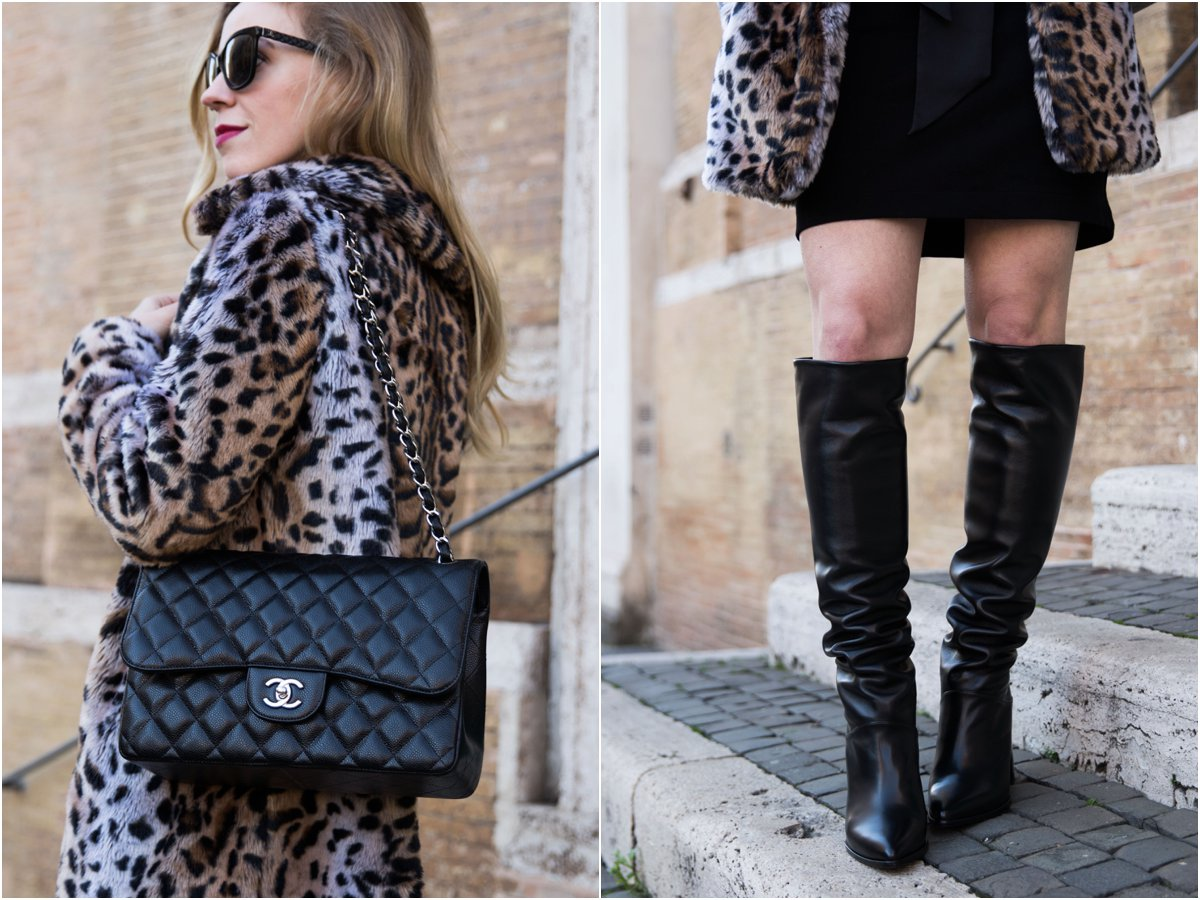 faux-fur-leopard-coat-with-knee-high-black-leather-boots-and-chanel-bag-how-to-wear-a-faux-fur-leopard-jacket