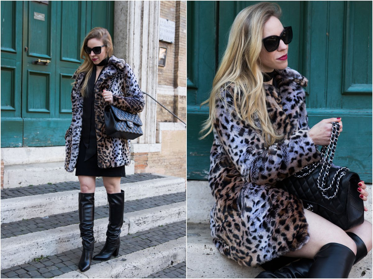faux-fur-leopard-jacket-with-black-dress-and-black-leather-knee-high-boots-stuart-weitzman-scrunchy-knee-high-leather-boots