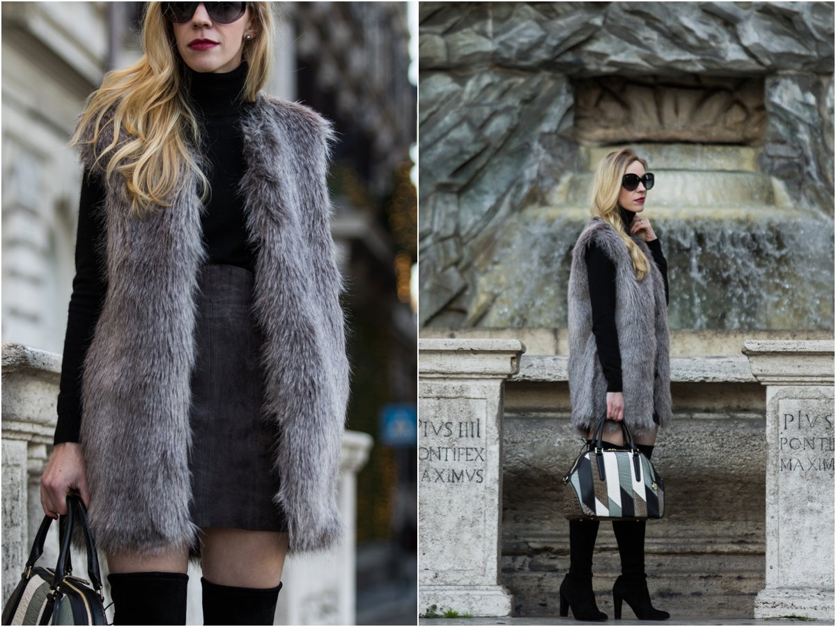 gray-faux-fur-vest-with-black-turtleneck-and-suede-mini-skirt-express-gray-suede-mini-skirt-how-to-wear-a-mini-skirt-with-over-the-knee-boots