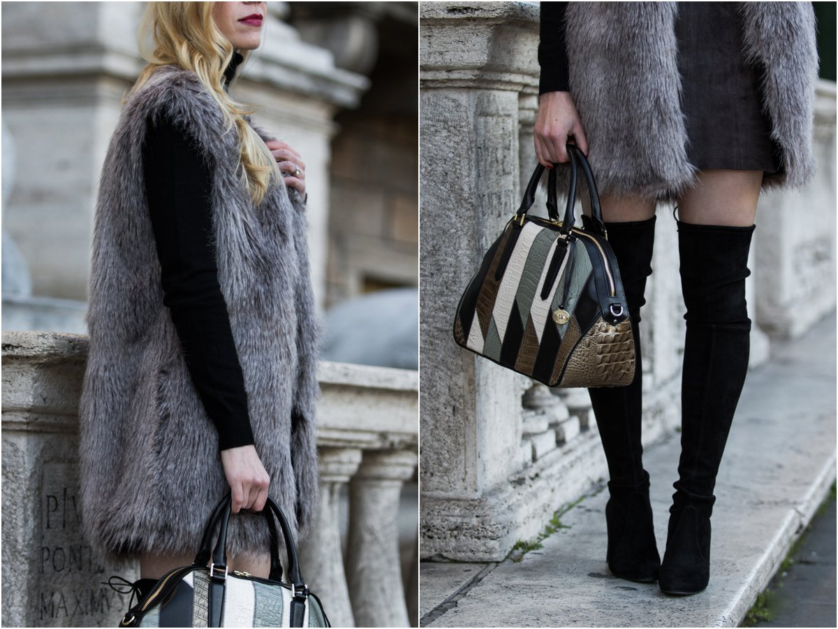 gray-faux-fur-vest-with-black-turtleneck-mini-skirt-and-over-the-knee-boots-express-gray-suede-mini-skirt-brahmin-hudson-satchel-patchwork