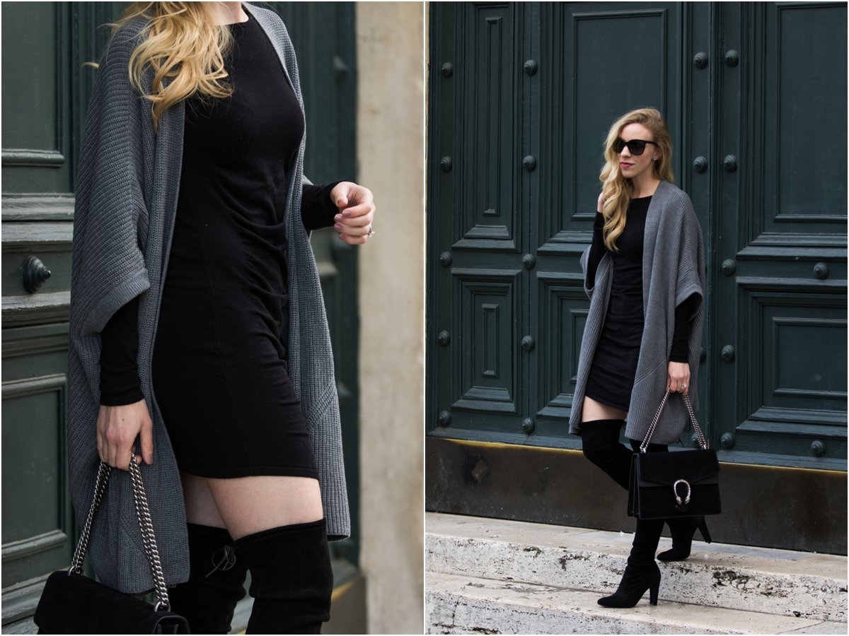 gray-kimono-cardigan-express-ruched-sweater-dress-with-over-the-knee-boots-how-to-wear-a-bodycon-dress-with-over-the-knee-boots