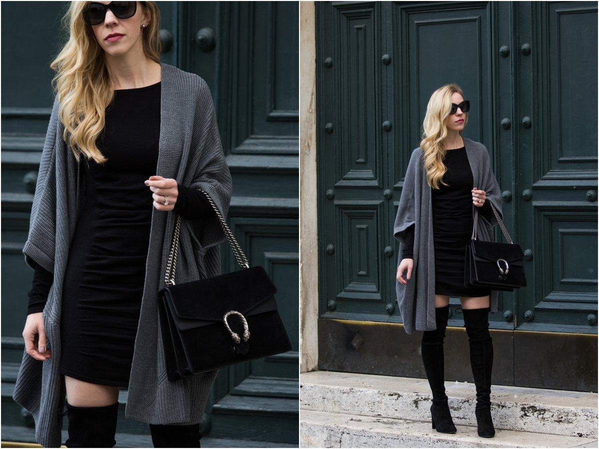 Black And Gray For Days Kimono Cardigan Bodycon Dress