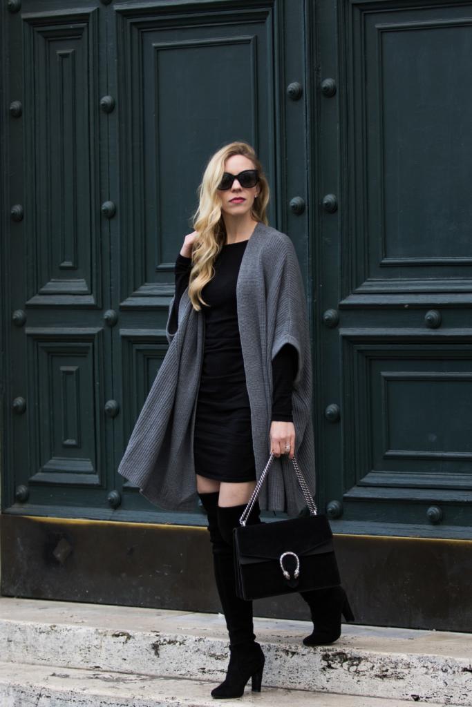 gray-oversized-kimono-cardigan-over-mini-dress-mini-dress-with-cardigan-and-over-the-knee-boots-gucci-black-suede-dionysus