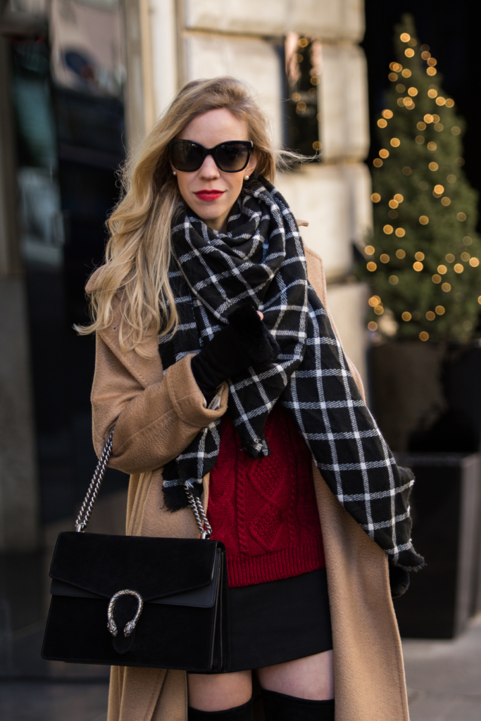 holiday-outfit-with-camel-coat-plaid-scarf-and-red-sweater-gucci-black-suede-dionysus-bag-black-mini-skirt-with-over-the-knee-boots-and-slouchy-coat
