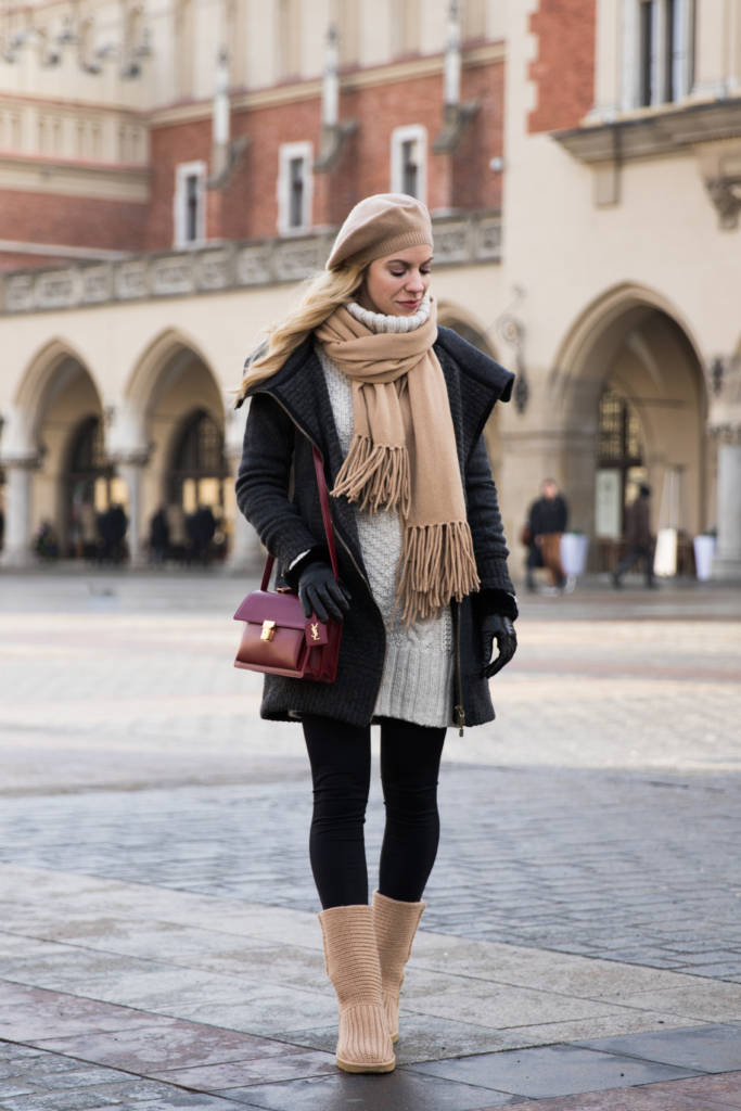 how-to-layer-for-winter-and-look-chic-gray-wool-coat-with-camel-scarf-and-ugg-boots-fashion-blogger-krakow-poland