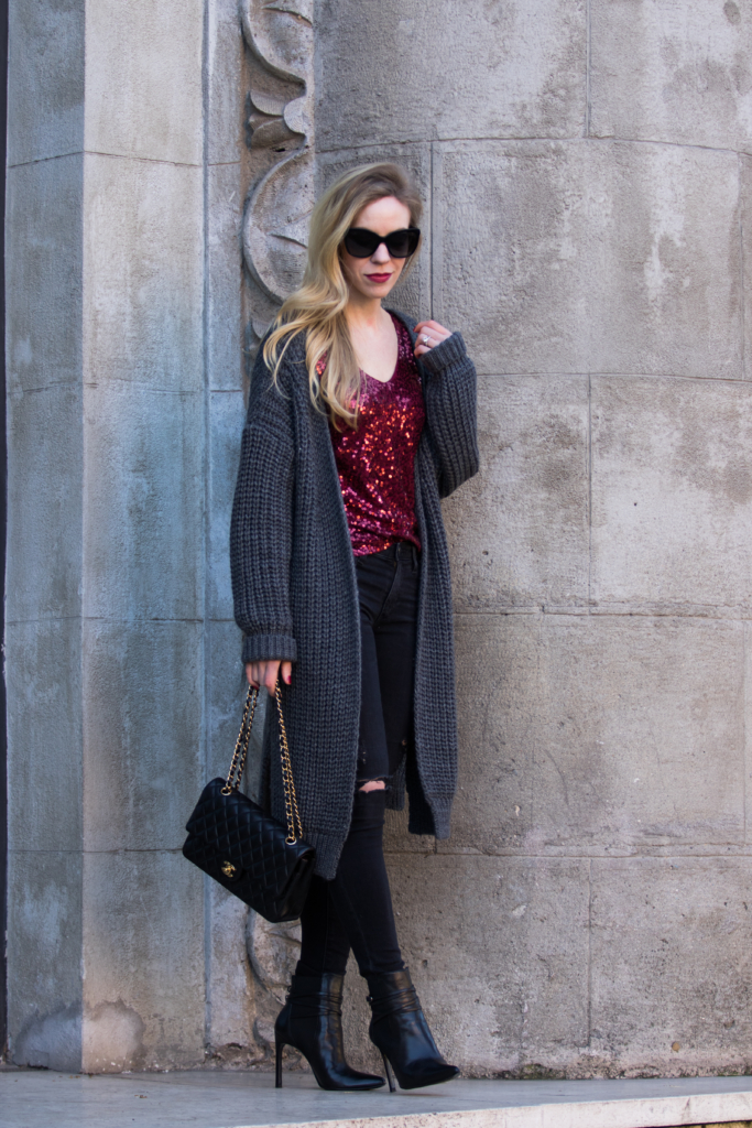 oversized-gray-cardigan-with-sequin-top-and-black-denim-new-years-eve-outfit-with-cozy-sweater-and-sequin-top
