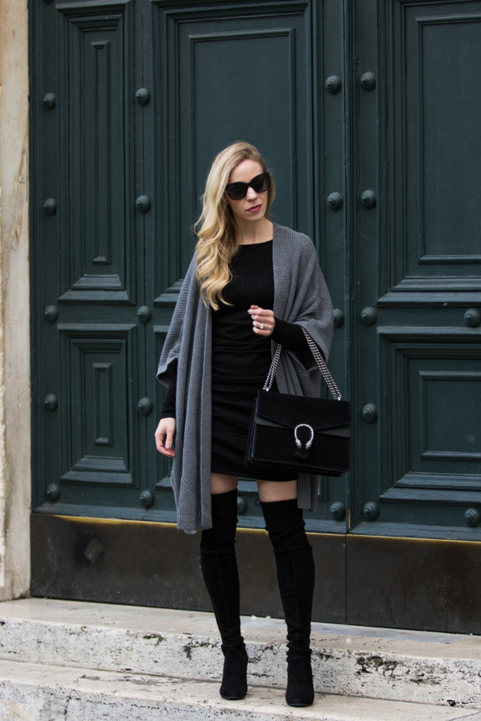 oversized-kimono-cardigan-express-ruched-sweater-dress-stuart-weitzman-black-suede-highland-boots-gucci-black-suede-dionysus