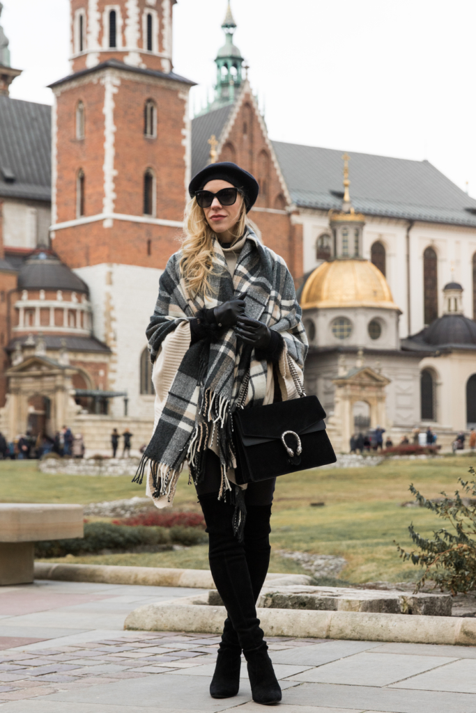 4f9374b7410b9 plaid-blanket-scarf-with-poncho-and-over-the-knee-boots -black-and-white-plaid-blanket-scarf-outfit-gucci-dionysus-bag-black-suede
