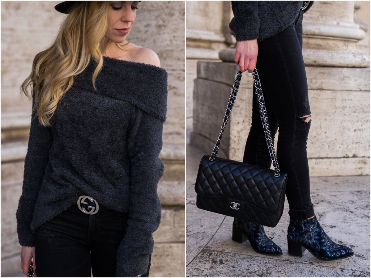 express-faux-fur-off-the-shoulder-top-gucci-belt-with-black-distressed-jeans-chanel-jumbo-classic-flap-bag-black-and-silver-embroidered-brocade-boots