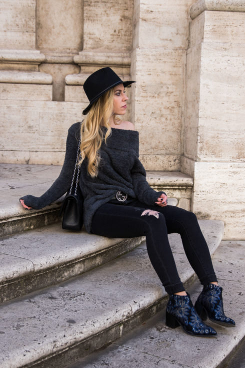 express-faux-fur-off-the-shoulder-top-with-gucci-belt-and-black-distressed-jeans-how-to-wear-embroidered-boots