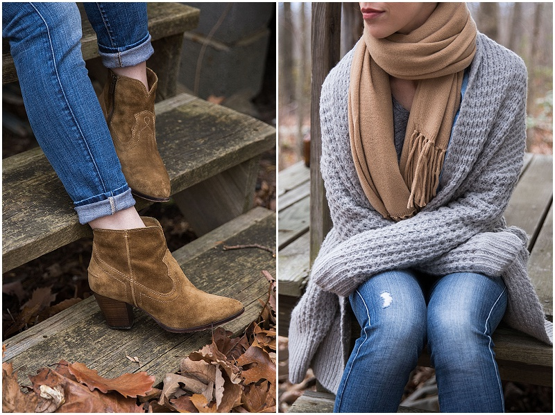 Frye Renee cashew suede western booties, gray cardigan with camel scarf outfit