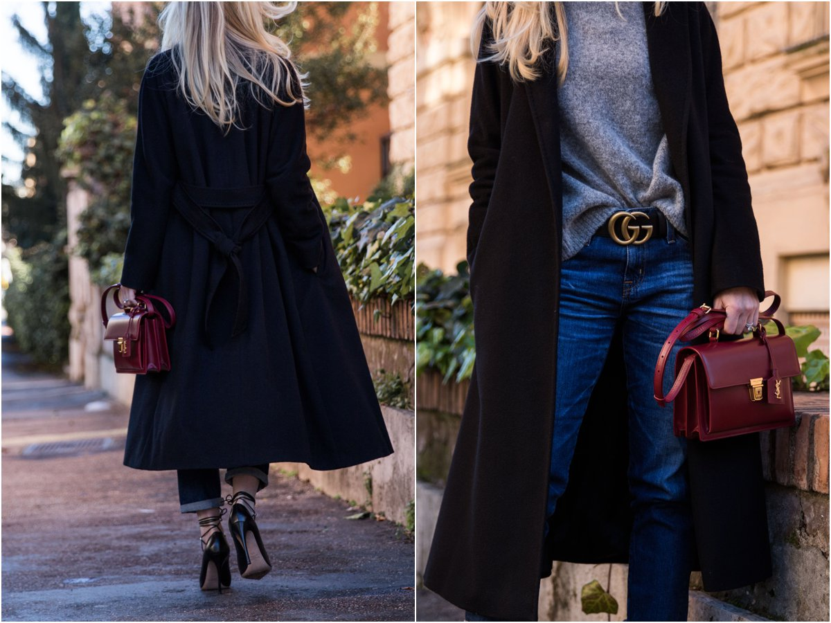 Max Mara Lubiana wrap coat with gray turtleneck, black Gucci belt and Saint Laurent red High School satchel