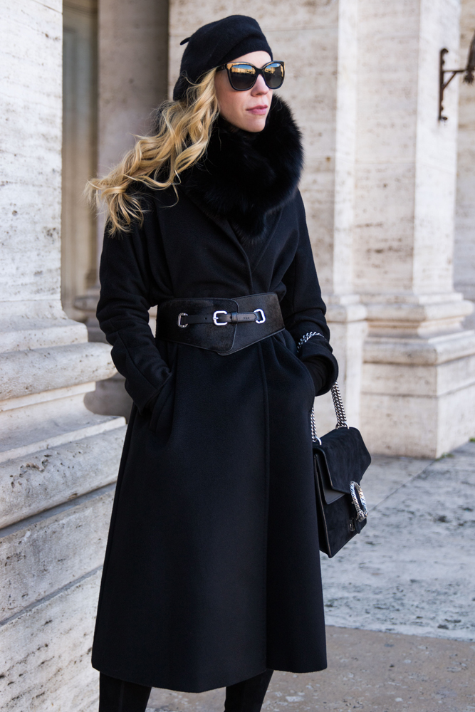 Max Mara black cashmere wrap coat with wide calf hair belt and Gucci Dionysus bag