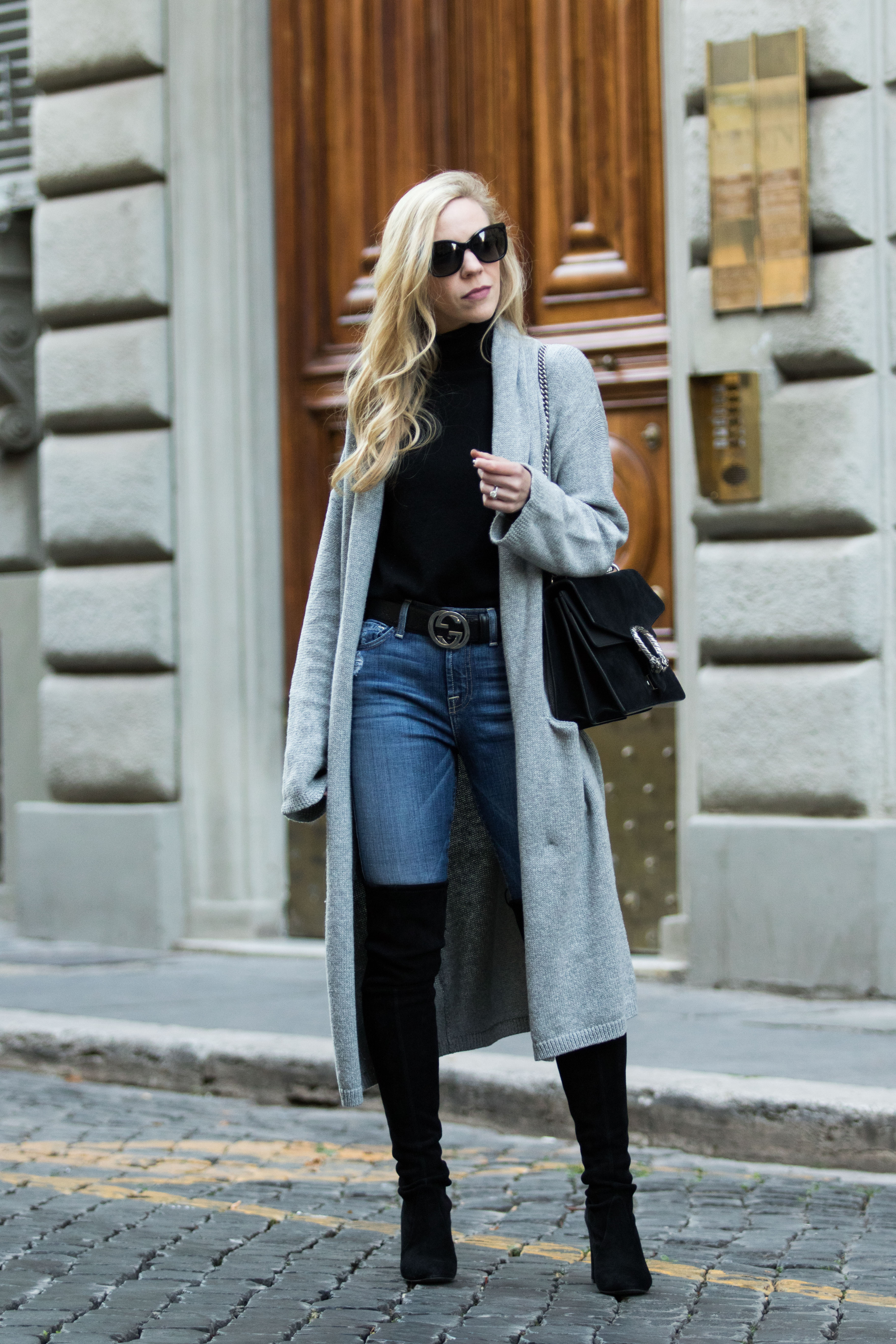 Rome Street Style Maxi Cardigan High Waist Jeans U0026 Over-the-Knee Boots - Meaganu0026#39;s Moda