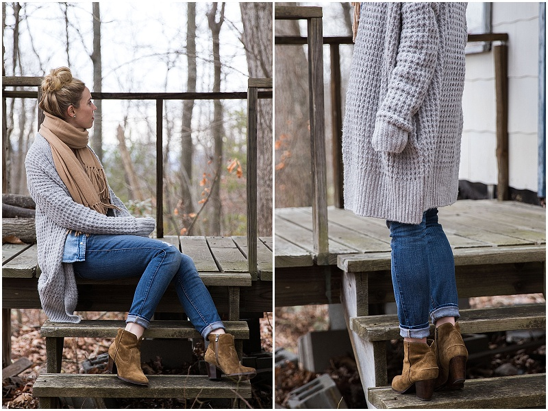 Meagan Brandon fashion blogger wearing gray waffle knit cardigan with camel scarf and suede booties for fall