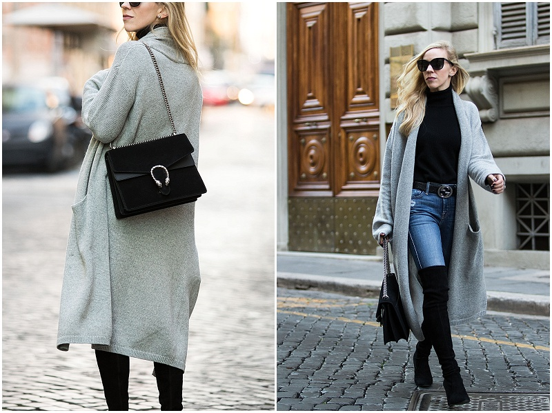 Meagan Brandon long gray maxi cardigan with Gucci belt and Stuart Weitzman over the knee boots, how to wear duster cardigan