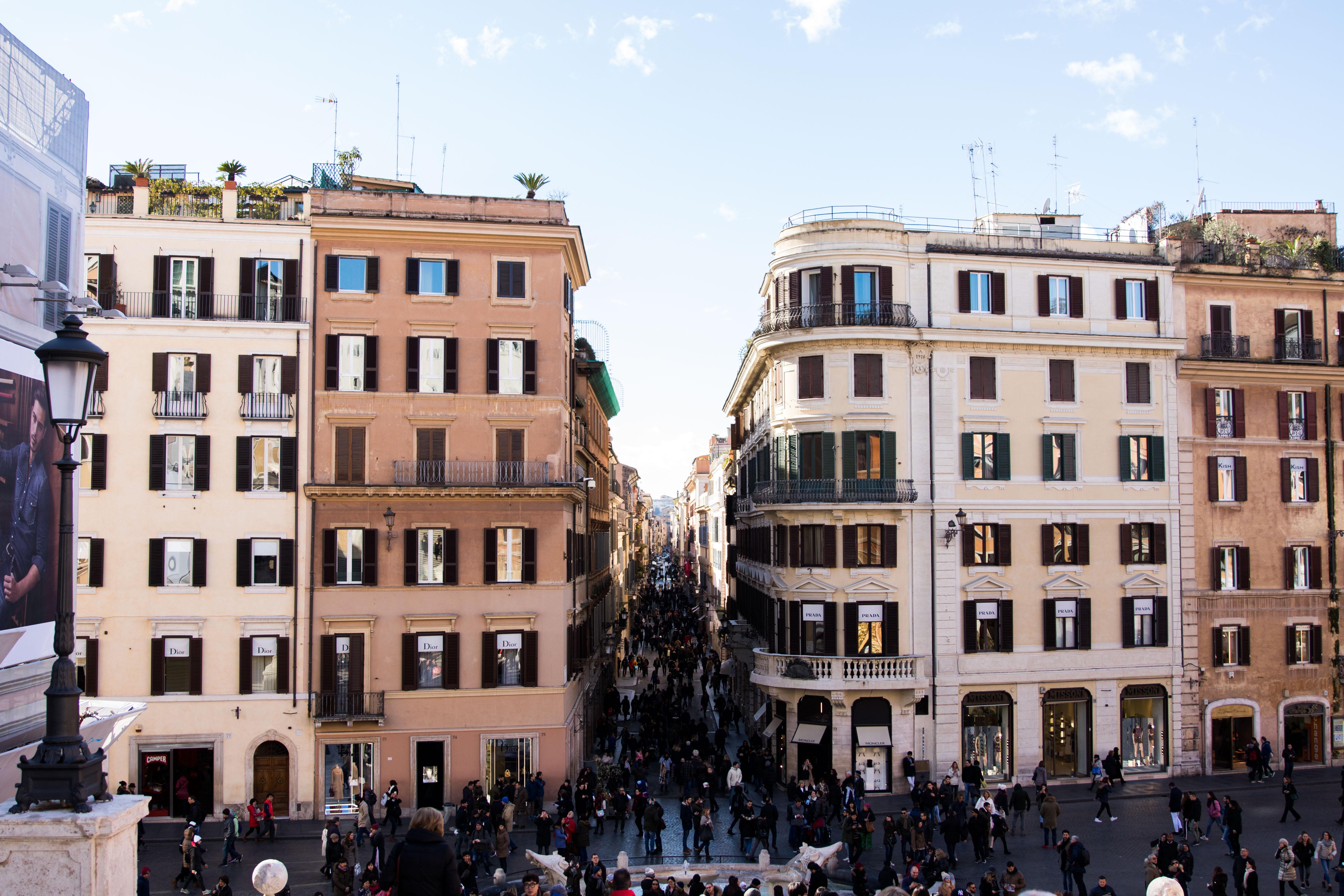 Piazza di Spagna Rome Italy, shops on Via dei Condotti Rome Italy