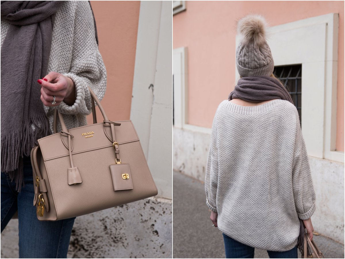Prada Esplanade CIty tote Cameo nude leather, oversized sweater with gray scarf and pom hat