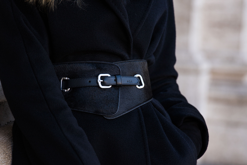 Ralph Lauren wide calf hair belt with Max Mara black cashmere Lubiana wrap coat