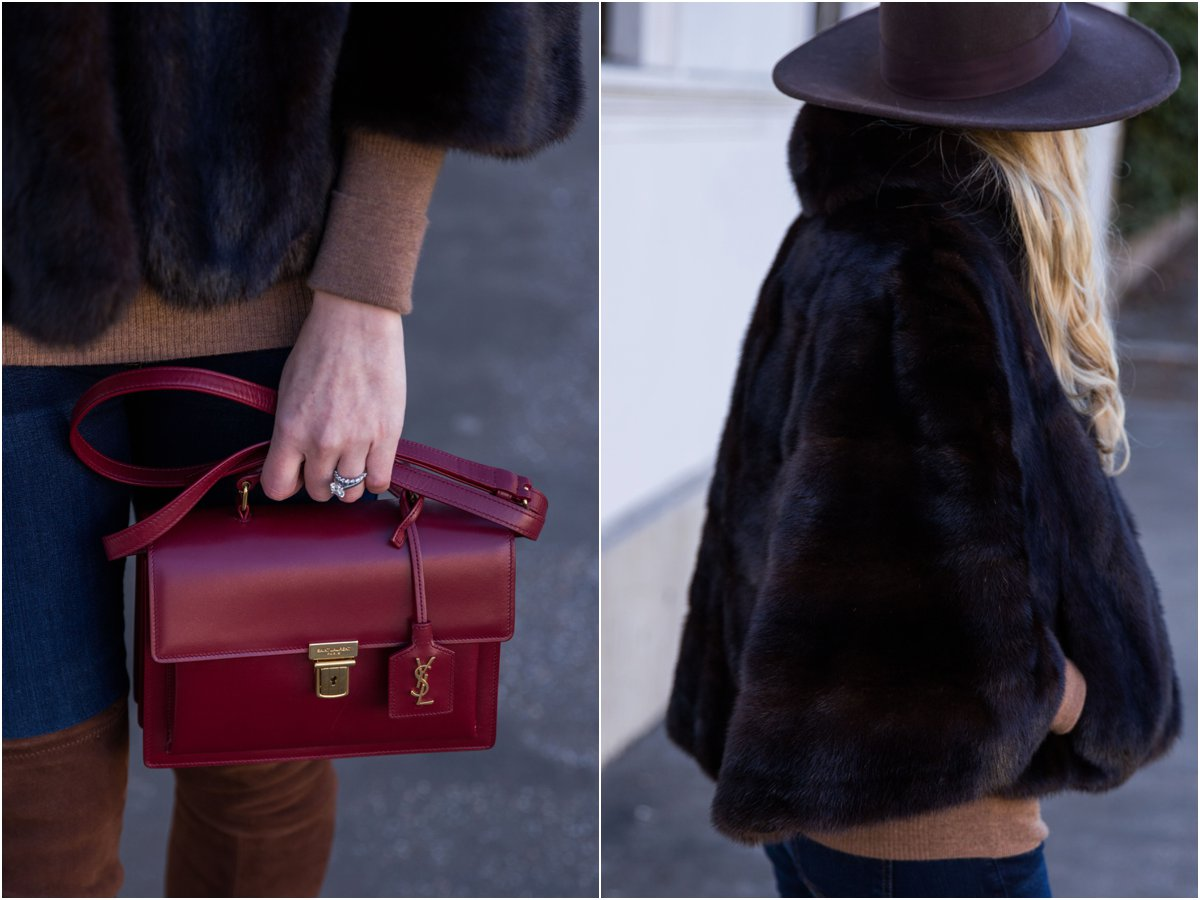saint-laurent-oxblood-red-high-school-satchel-vintage-fur-cape-outfit-how-to-wear-vintage-fur-jacket