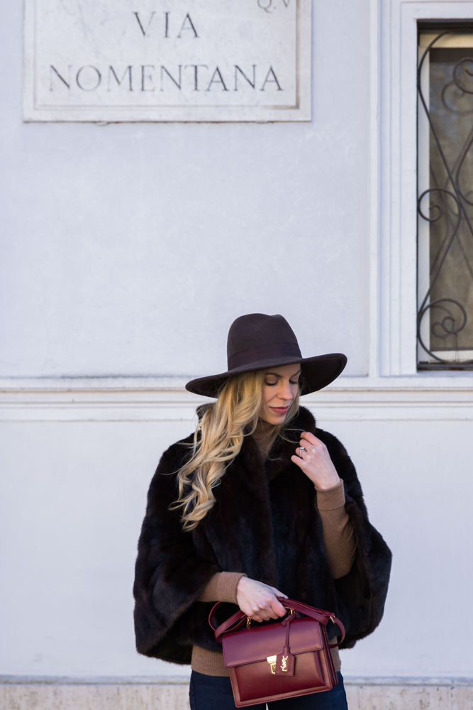 fashion-blogger-meagan-brandon-wearing-vintage-fur-cape-with-panama-hat-and-red-ysl-high-school-bag-how-to-wear-vintage-fur-jacket