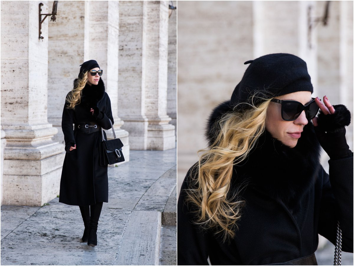 fashion blogger Meagan's Moda wearing Max Mara Lubiana cashmere wrap coat with beret and Gucci Dionysus bag