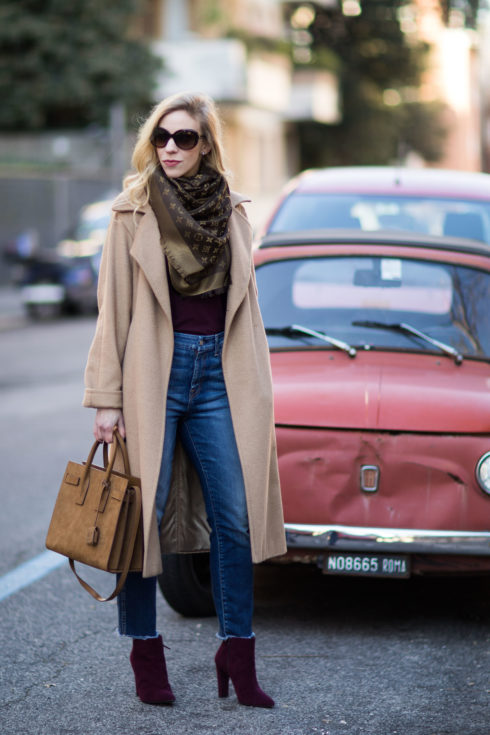 fashion-blogger-meagans-moda-wearing-max-mara-camel-coat-louis-vuitton-monogram-scarf-and-cropped-jeans-with-burgundy-booties