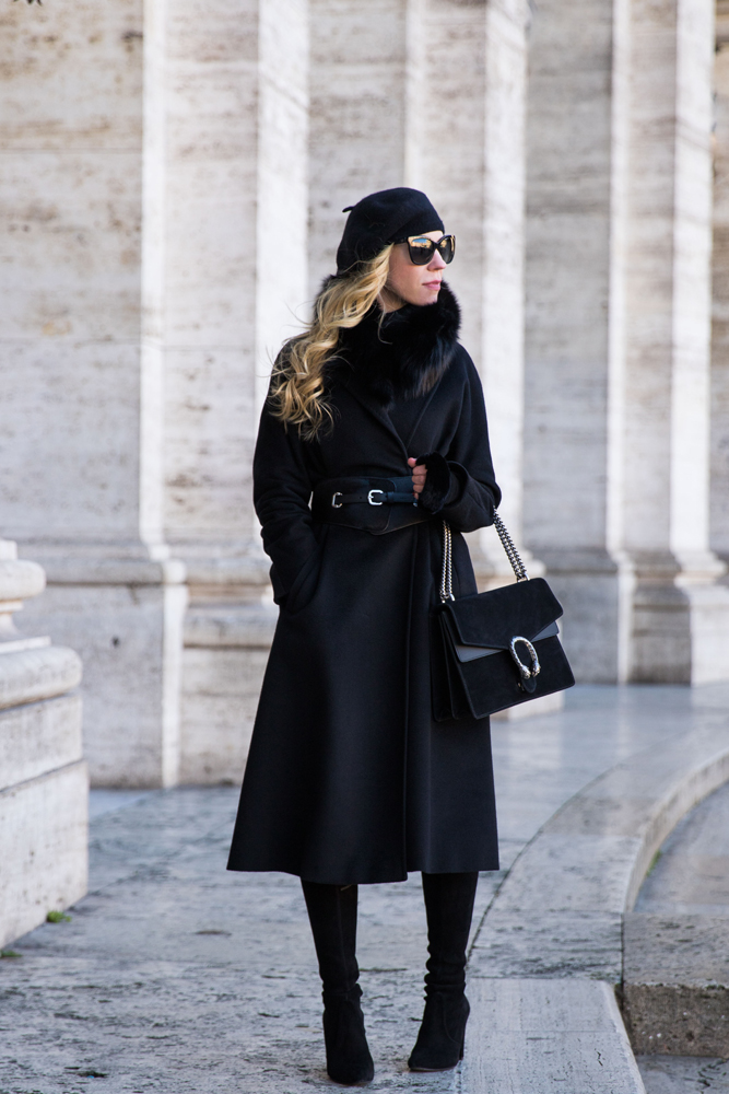 fashion blogger Meagan's Moda wearing all black with Max Mara cashmere Lubiana wrap coat and Gucci black suede Dionysus bag