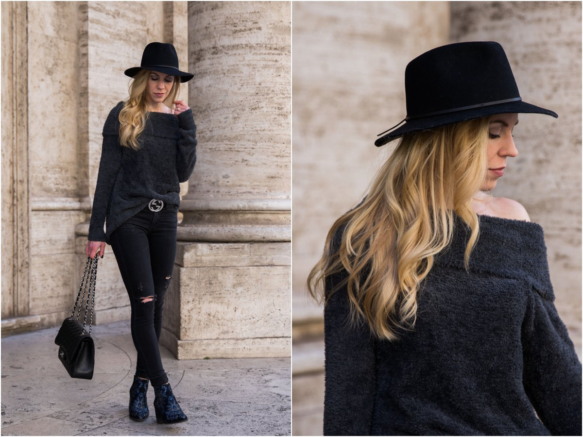 fashion-blogger-meagans-moda-wearing-faux-fur-off-the-shoulder-top-black-fedora-and-black-jeans-with-chanel-jumbo-classic-flap-bag