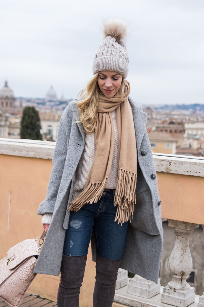fashion-blogger-meagans-moda-wearing-winter-neutral-outfit-with-oversized-gray-coat-camel-scarf-and-pom-beanie-hat