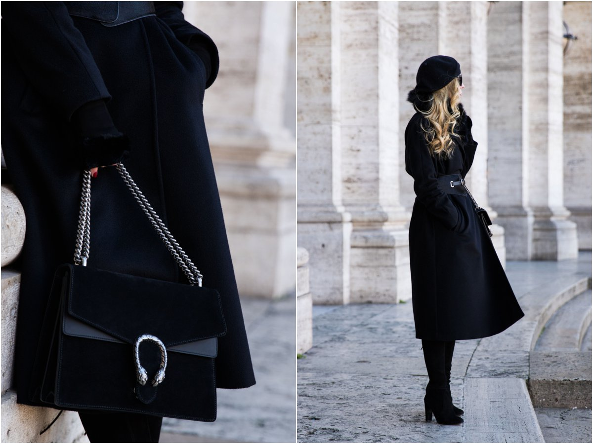 fashion blogger wearing Max Mara Lubiana cashmere wrap coat with Gucci suede Dionysus bag