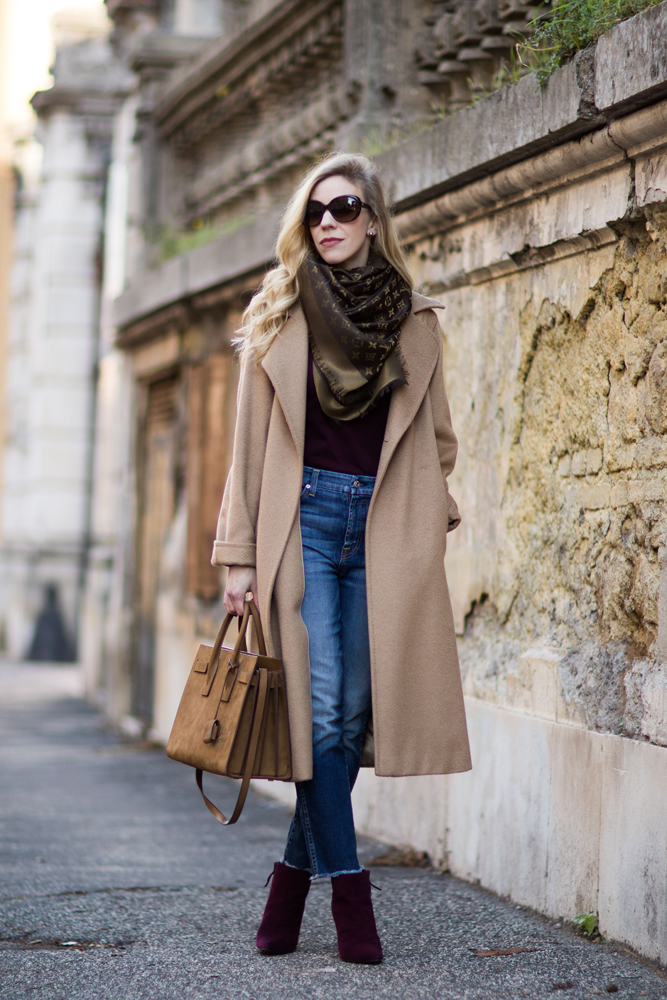 fashion-blogger-wearing-max-mara-manuela-camel-coat-louis-vuitton-monogram-scarf-and-cropped-jeans-stuart-weitzman-hitimes-bordeaux-suede-boots