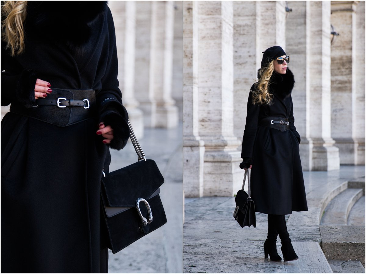 fashion blogger wearing Max Mara black cashmere Lubiana wrap coat with wide belt and Stuart Weitzman Highland boots