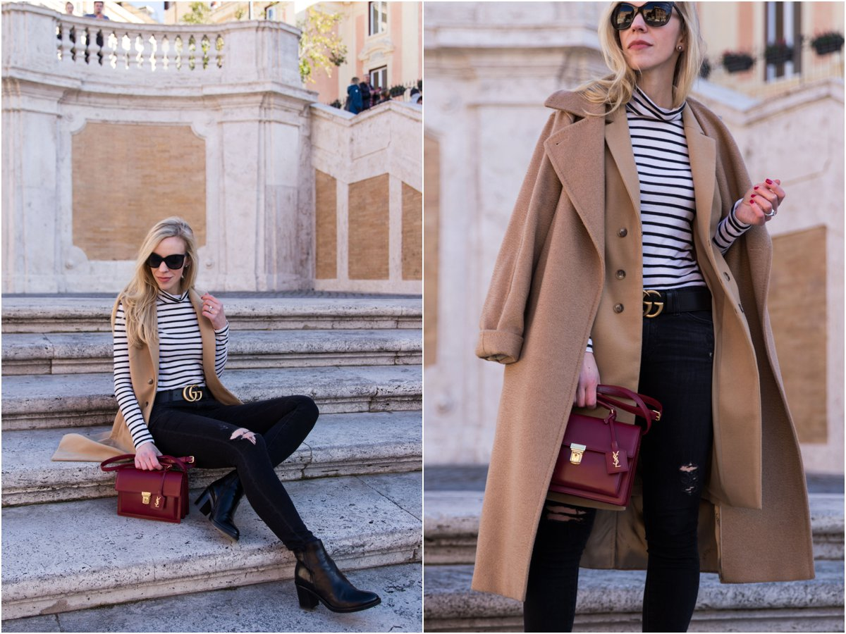 fashion blogger wearing Max Mara camel coat with vest, striped turtleneck and red Saint Laurent handbag, how to layer with a camel coat for winter