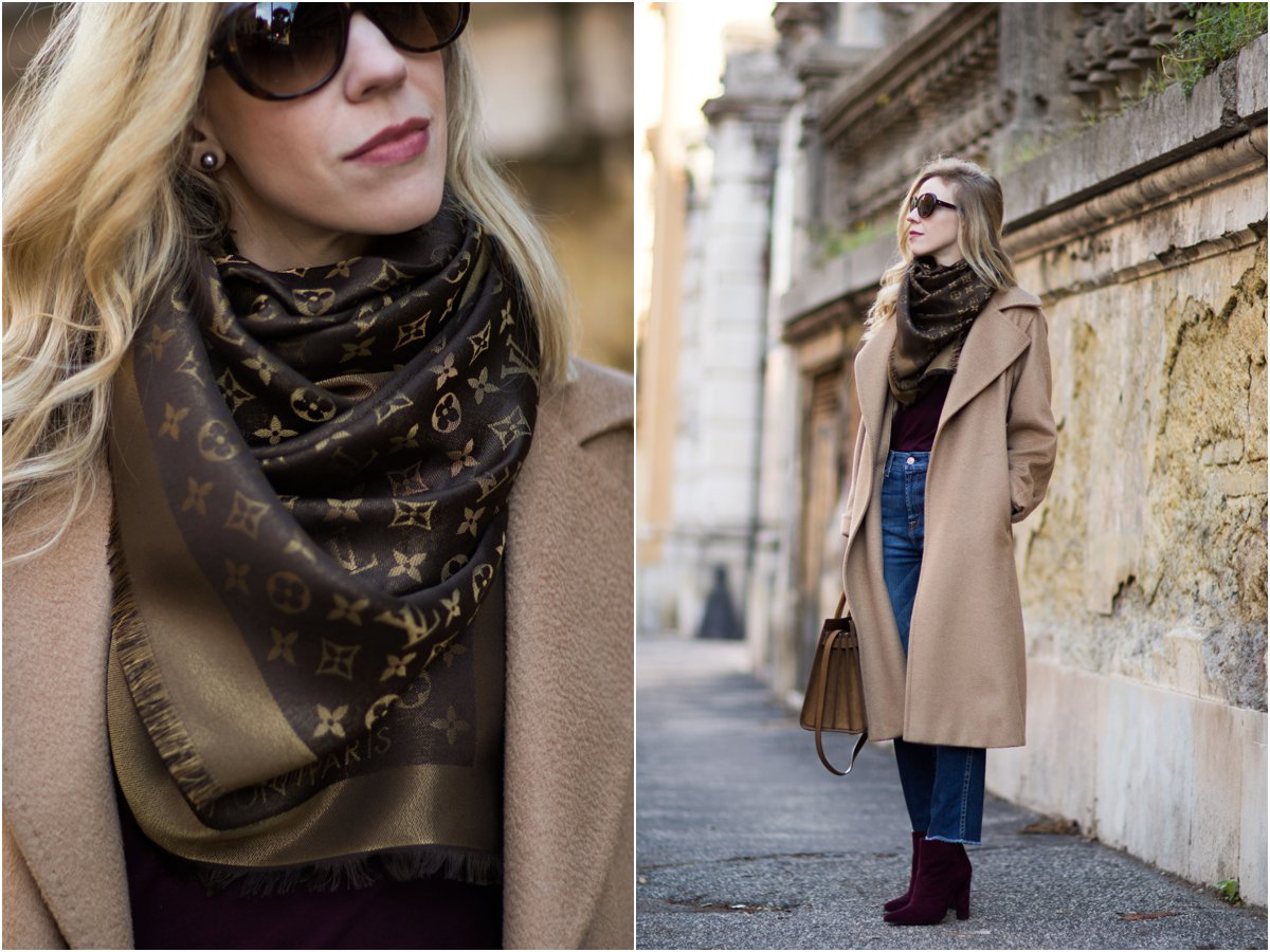 fashion-blogger-wearing-camel-coat-and-brown-louis-vuitton-shine-shawl-monogram-scarf