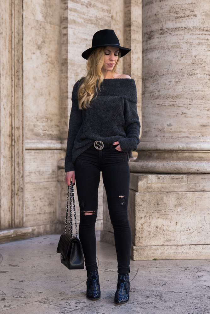 fashion-blogger-wearing-faux-fur-off-the-shoulder-top-black-distressed-jeans-and-black-gucci-belt-with-embroidered-boots
