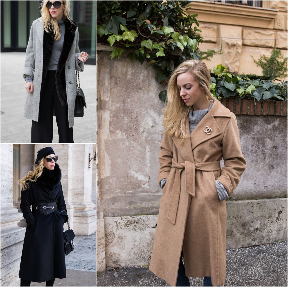 how to change the look of your winter coat with accessories and layers, how to reinvent your winter coat with a belt and Chanel brooch pin